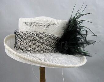 White Dipped Brim Sinamay Hat Fascinator