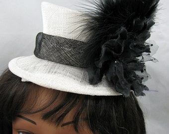 Black and White Mini Top Hat Fascinator Kentucky Derby Wedding Hat