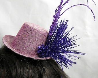 Tiny Top Hat Fascinator with Purple Sparkles