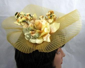 Antique Gold Fascinator Kentucky Derby or Wedding Hat
