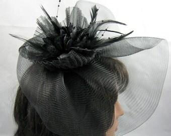 Black Crin Fascinator Kentucky Derby Hat