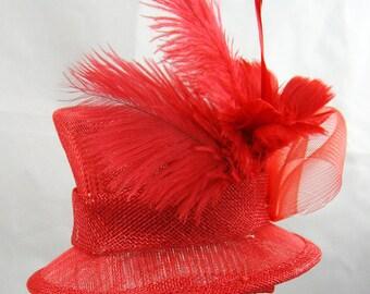 Red Mini Top Fascinator Kentucky Derby Wedding Hat