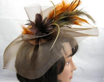 Brown Crin Fascinator Kentucky Derby or Wedding Hat