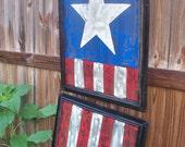 Folk Artist Alan Moore-Two Screen American Flag