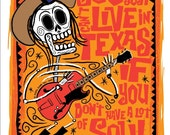 SALE El Doug Sahm Print (Day of the Dead Rock Stars) Print