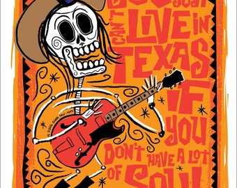 El Doug Sahm Print (Day of the Dead Rock Stars) Print
