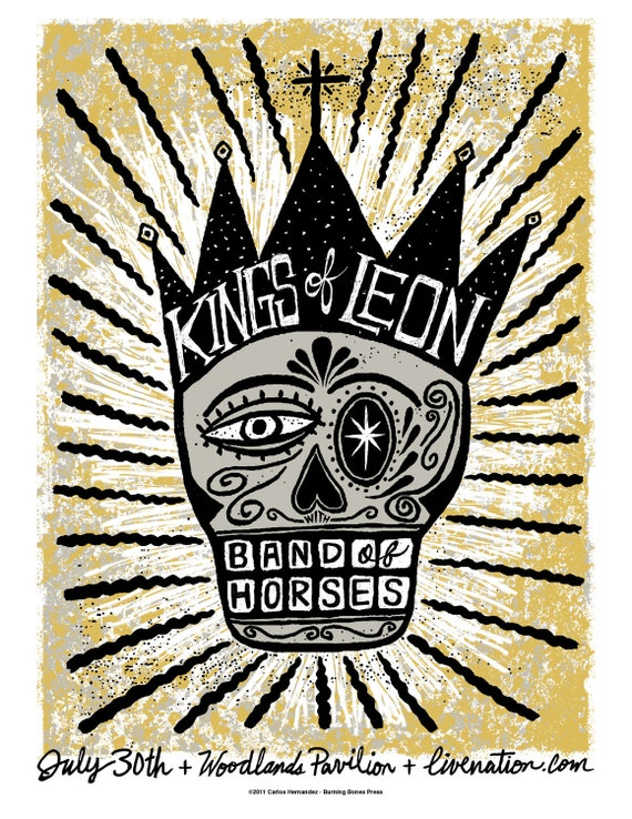 Kings of Leon with Band of Horses Screenprinted Poster LAST ONE