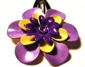 Hawaiian Hair Flower in Purple and Yellow - Barrette