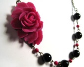 Candy Romantic Rose - Hot Pink Rose Cabochon with Black and Pink Beads