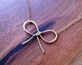 Bow necklace made with 14k gold fill S