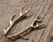 Gilded Bronze Antler Stag Hair Pins