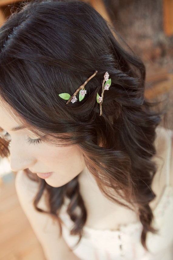 Twig Hair Bobby Pins with Cherry Sakura Blossom Flowers