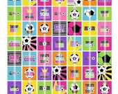 Soccer 1 Inch Square Images - Digital Collage Sheet (No. 286) - For Glass Pendants, Magnets, & More - Printable Download