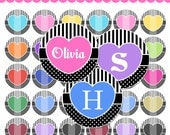 4x6 Editable PDF - Glam Hearts Digital Collage Sheet (No. 625) - 1 Inch Circles for Round Bottle Caps, Magnets, Hair Bow Centers, & More