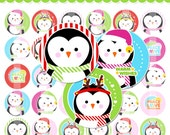 Penguin Christmas Bottle Cap Images - 4x6 Digital Collage Sheet (No. 861) - 1 Inch Circles for Bottlecaps, Hair Bows - Instant Download