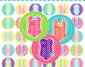 Sweet Swimsuits Bottle Cap Images - 4x6 Digital Collage Sheet (No. 916) - 1 Inch Circles for Bottlecaps, Hair Bow Centers, Stickers, & More
