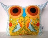 SALE 25%/Polyfil Stuffed Royal peacock Owl Pillow/Ready to ship