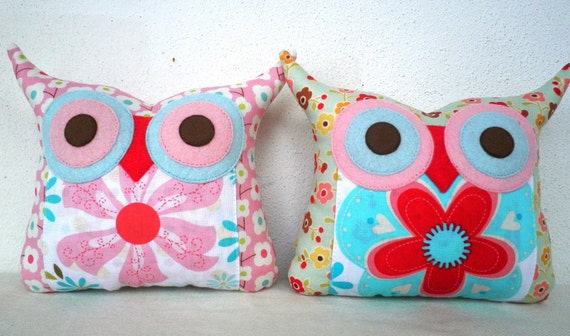 TWO/Polyfil Stuffed little owl pillows decoration/collection - Ready to ship