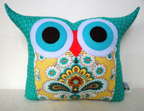 Amy Butler French Wallpaper out of print owl pillow/ready to ship