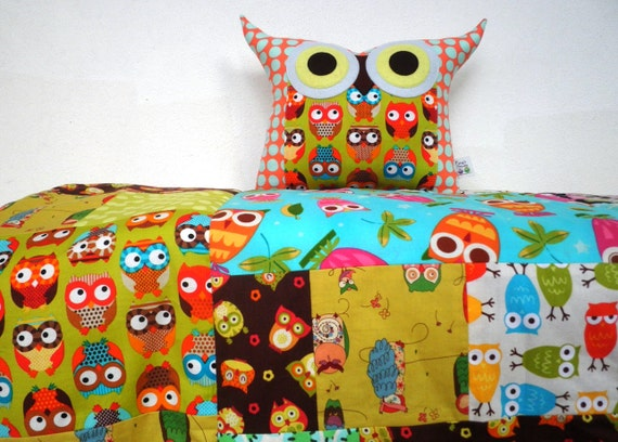 custom order for  Christina Booth / End of month SALE/Quilt for baby (owl family)/