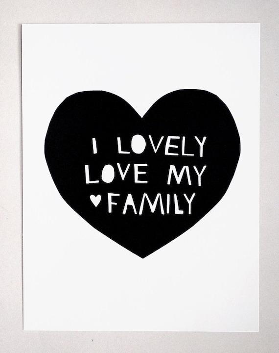 Lovely, Love My Family Print in Black