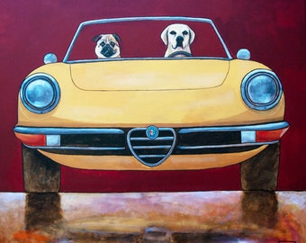 """170 Alfa Spider with Pug and Lab – print 14x14cm/5.5x5.5"""""""