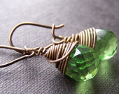 pure bronze niobium wire wrapped green faceted glass drops earrings - spring meadow cassonade