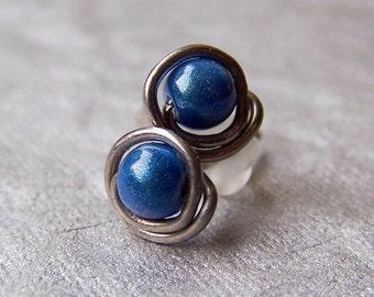 pure titanium post stud earrings blue for sensitive ears handmade by variya