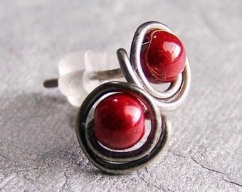 hypoallergenic titanium post stud earrings for sensitive ears red handmade by Variya