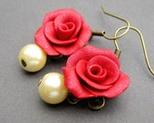 Scarlet Earrings - Red Polymer Clay Rose, Pearl & Brass