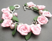 Rambling Rose Bracelet - Pink Polymer Clay & Pearls