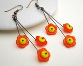 Citrus Blossom Earrings - Vintage Glass Flower & Copper