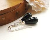 Noir Earrings - Black Teardrop, Agate, Crystal & Silver