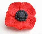 Poppy Brooch - Red & Black Polymer Flower