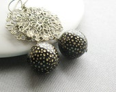 Stardust and Lace Earrings - Vintage Lucite and Filigree