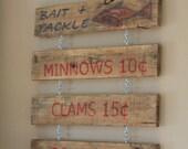 Instant Coastal Decor - Vintage Inspired Bait & Tackle Sign