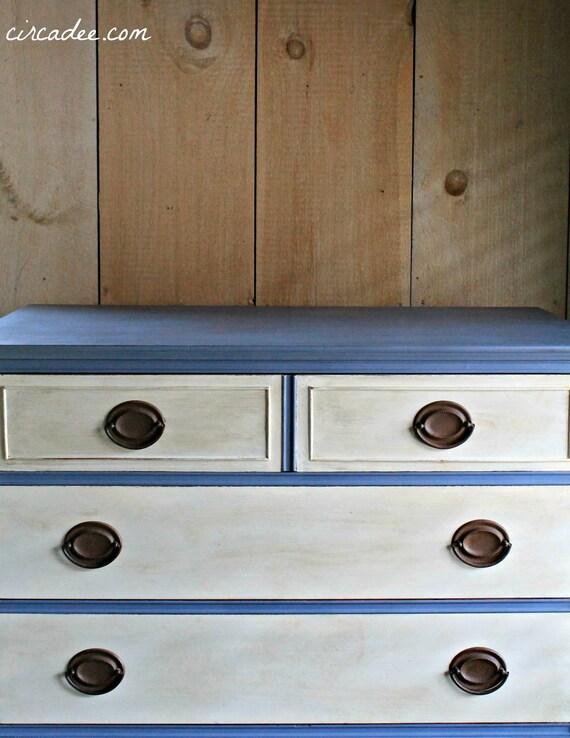 Vintage Mid-century Dresser painted two tone violet & white