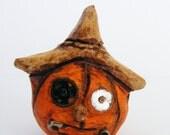 Primitive Folk Art Scarecrow Jack O Lantern