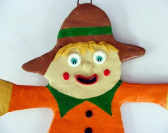 Halloween Folk Art Scarecrow Ornament