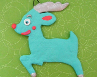 Aqua Reindeer Folk Art Sugar Cookie Christmas Ornament