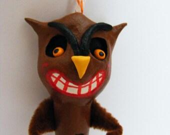 Halloween Folk Art Owl Clothes Pin Ornament