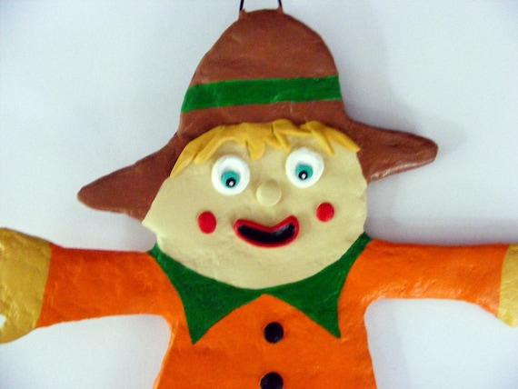 Halloween Folk Art Scarecrow Ornament