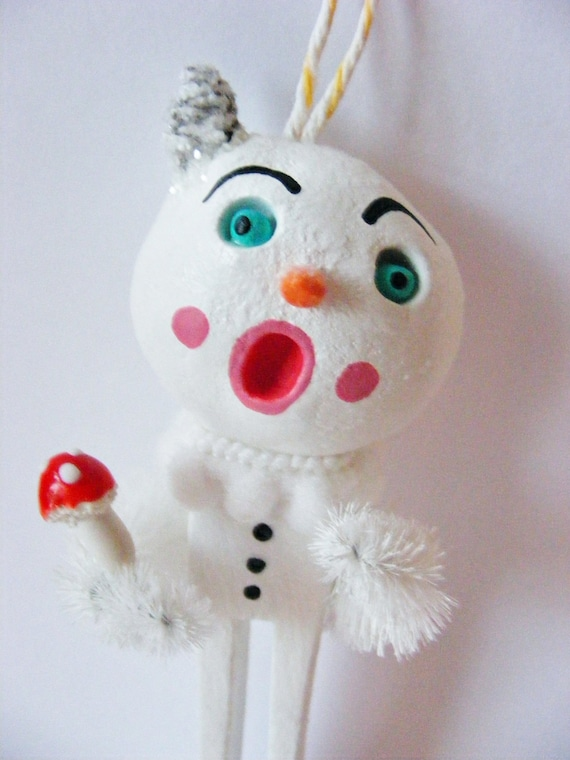 Conehead Snowman Folk Art Ornament