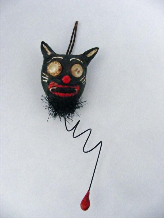 Primitive Folk Art  Black Cat Balloon Ornament