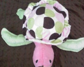 Super Soft Minky Sea Turtle Soft Toy... Pink, Mint Green, and Brown Dots