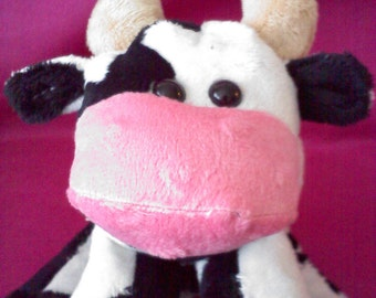 Black and White Spotted Soft Minky Cow Soft Toy