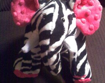 Mixed Up Elephant - Zelephant - elephant - soft toy- stuffed animal - plushie - jungle animal - zebra print - zebra stripes - minky