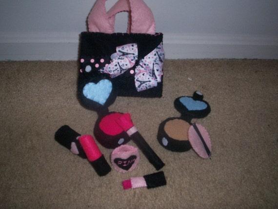 Black and Pink Paris Felt Make-up Set