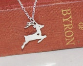 Small Stag Silver Necklace with cut-out Heart