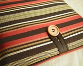 iPad Case, new iPad Case, ipad cover, ipad Sleeve, ipad 3 Cover, ipad pouch, ipad 2 sleeve, Touch Pad case, Espresso Paprika Stripes
